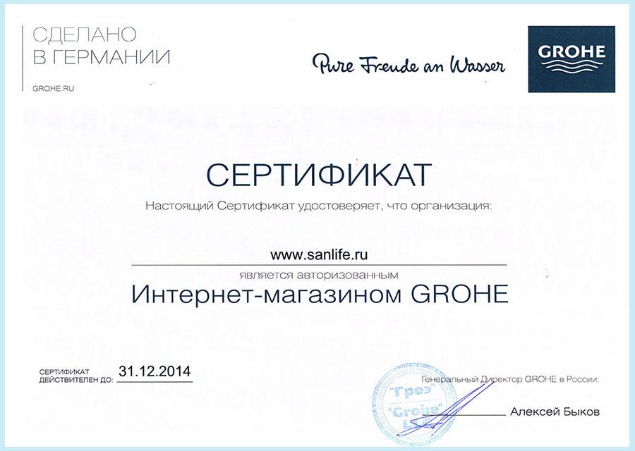Сертификат магазина образца 2013