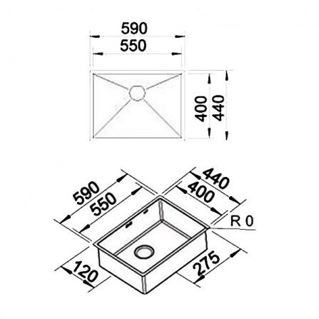 Blanco Zerox 550-IF Мойка 521590 сталь зеркальная
