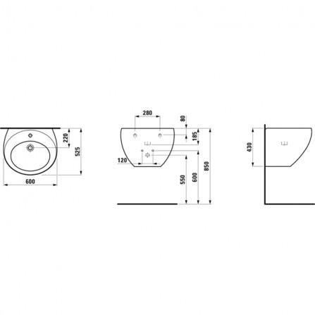 Laufen Alessi Раковина объединенная с полупьедесталом  600 х 525 мм 1097.2.400.104.1
