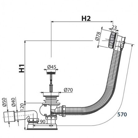 Alcaplast Сточный комплект A55K-60
