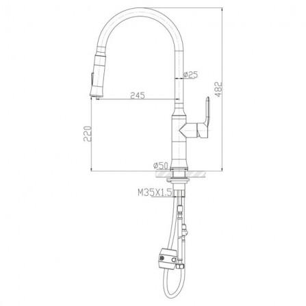 BelBagno Смеситель для кухни двухрежимный BB-LAM38-IN