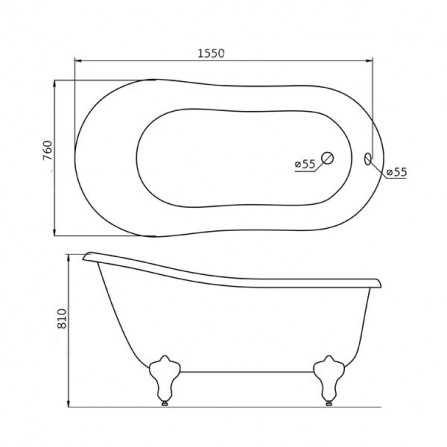 BelBagno BB06-1550 Ванна акриловая 155x76 ORO