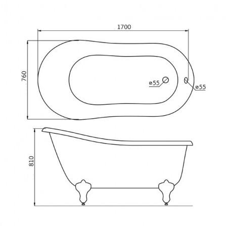 BelBagno BB06-1700 Ванна акриловая 170x76 BRN