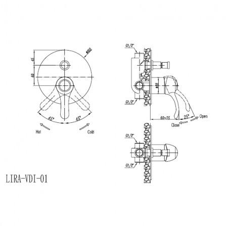 Cezares Lira VDIM-01 Смеситель для ванны встраиваемый хром