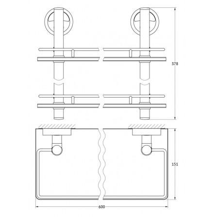 FBS Ellea ELL-065 Полка с ограничителем 60 см двойная (стекло)