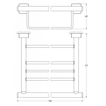 FBS Esperado ESP-043 Полка для полотенец с нижним держателем 70 см