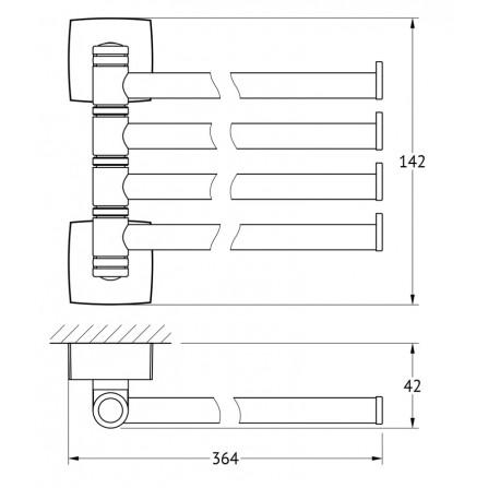 FBS Esperado ESP-046 Держатель полотенец поворотный четверной 35 см