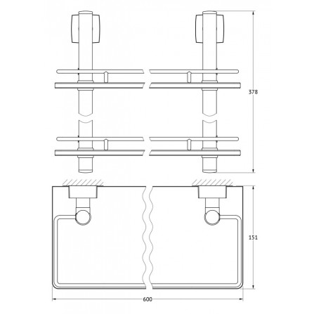 FBS Esperado ESP-065 Полка с ограничителем 60 см двойная (стекло)