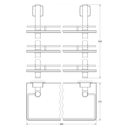 FBS Esperado ESP-067 Полка с ограничителем 30 см тройная (стекло)