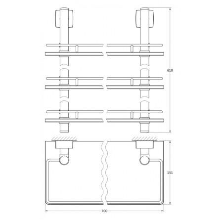 FBS Esperado ESP-071 Полка с ограничителем 70 см тройная (стекло)