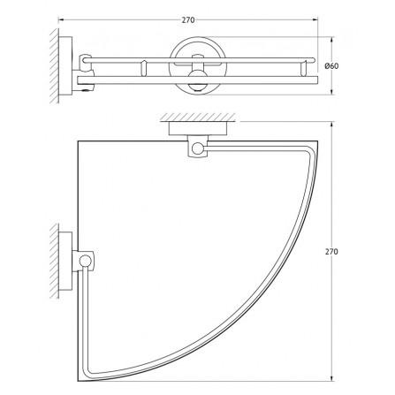 FBS Luxia LUX-012 Полка угловая с ограничителем 25 см (стекло)