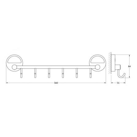 FBS Luxia LUX-027 Держатель с 6-ю крючками 35 см