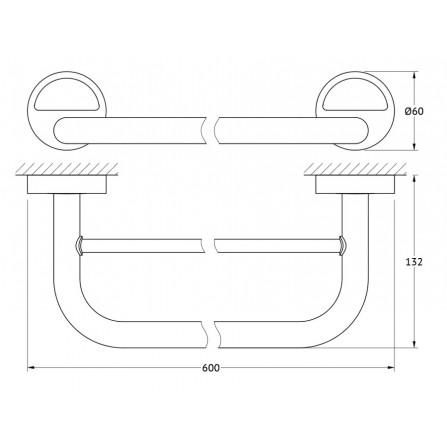 FBS Luxia LUX-037 Держатель полотенец 60 см двойной