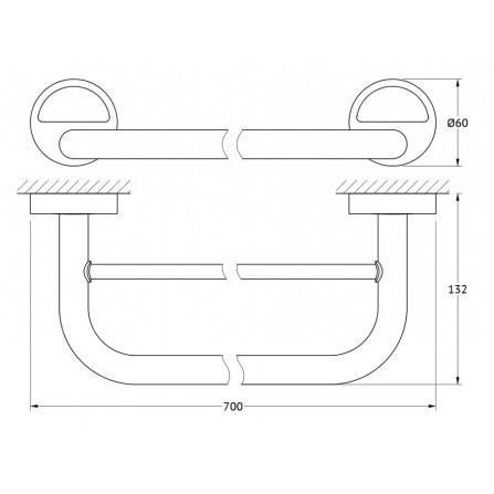 FBS Luxia LUX-038 Держатель полотенец 70 см двойной