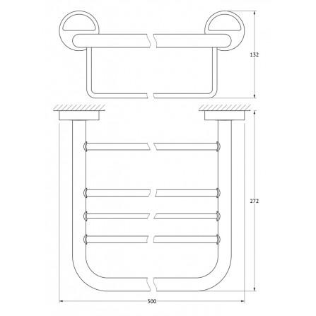 FBS Luxia LUX-041 Полка для полотенец с нижним держателем 50 см