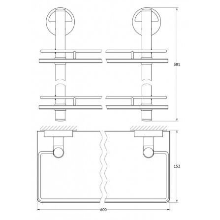FBS Luxia LUX-065 Полка с ограничителем 60 см двойная (стекло)