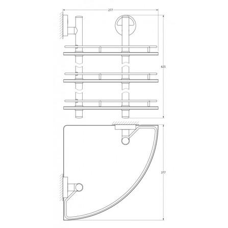 FBS Luxia LUX-073 Полка угловая с ограничителем 28 см тройная (стекло)