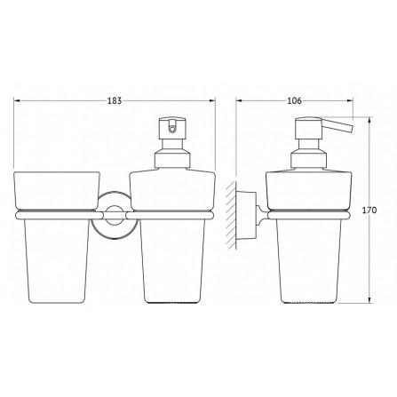 FBS Nostalgy NOS-008 Держатель стакана и емкости для жидкого мыла (стекло)