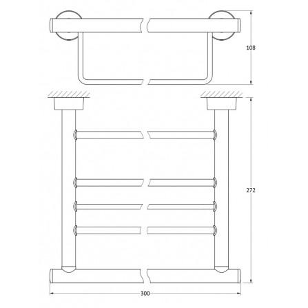 FBS Nostalgy NOS-039 Полка для полотенец с нижним держателем 30 см