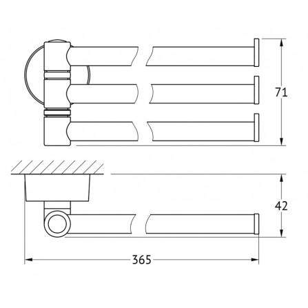 FBS Nostalgy NOS-045 Держатель полотенец поворотный тройной 35 см