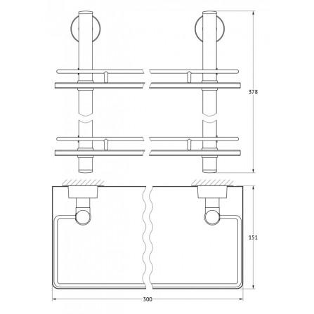 FBS Nostalgy NOS-062 Полка с ограничителем 30 см двойная (стекло)