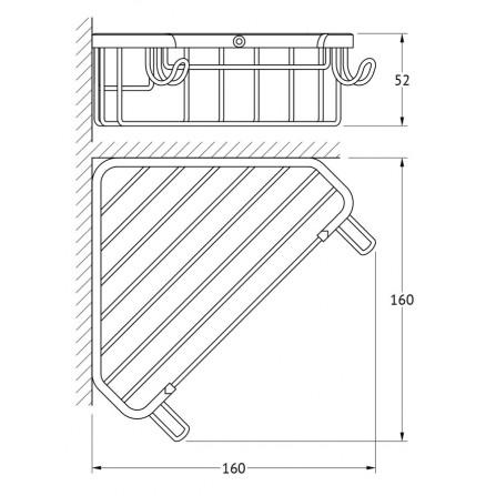 FBS Ryna RYN-002 Полочка-решетка треугольная глубокая 18 см