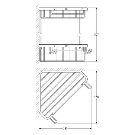 FBS Ryna RYN-003 Полочка-решетка 2-х уровневая треугольная 18x18 см