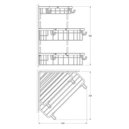 FBS Ryna RYN-008 Полочка-решетка 3-х уровневая треугольная 18x23x23 см