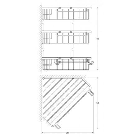 FBS Ryna RYN-009 Полочка-решетка 3-х уровневая треугольная 23x23x23 см