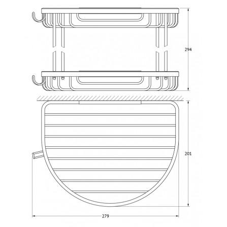 FBS Ryna RYN-011 Полочка-решетка 2-х уровневая полукруглая 26x26 см