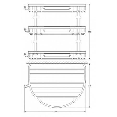 FBS Ryna RYN-012 Полочка-решетка 3-х уровневая полукруглая 26x26x26 см