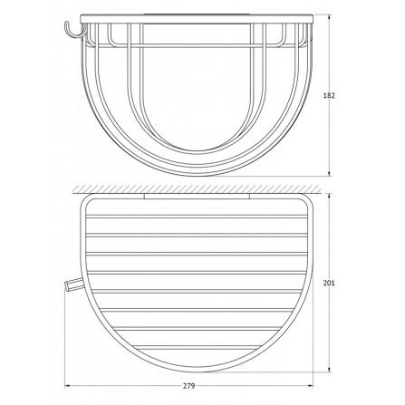 FBS Ryna RYN-031 Полочка-решетка полукруглая 26 см с держателями для мочалок