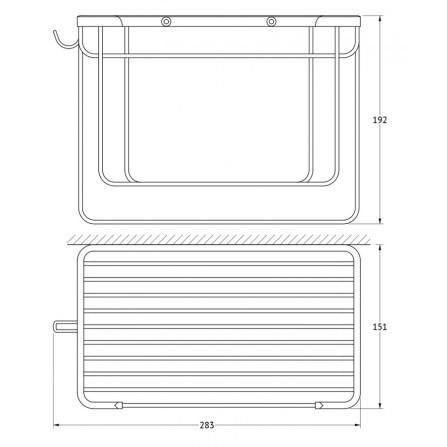 FBS Ryna RYN-036 Полочка-решетка прямоугольная 26 см с держателями для мочалок