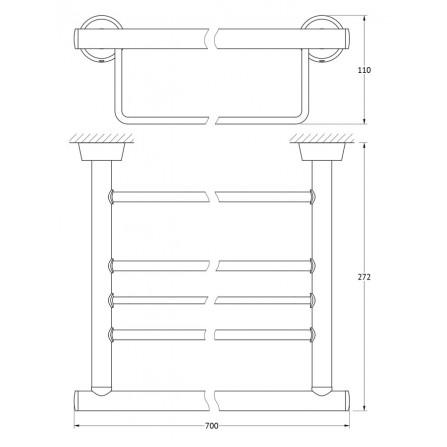 FBS Vizovice VIZ-043 Полка для полотенец с нижним держателем 70 см