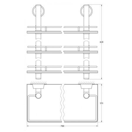 FBS Vizovice VIZ-071 Полка с ограничителем 70 см тройная (стекло)