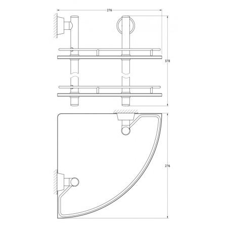 FBS Vizovice VIZ-072 Полка угловая с ограничителем 28 см двойная (стекло)