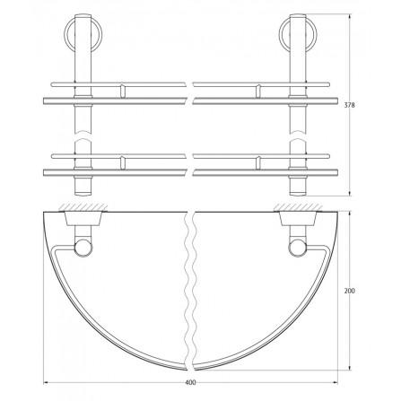 FBS Vizovice VIZ-081 Полка полукруглая с ограничителем двойная 40 см