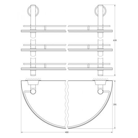 FBS Vizovice VIZ-082 Полка полукруглая с ограничителем тройная 40 см
