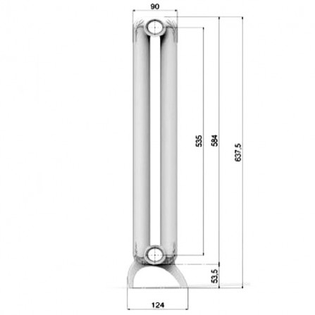 Fondital Mood 535/24 Радиатор отопления 1220х637,5х124 белый