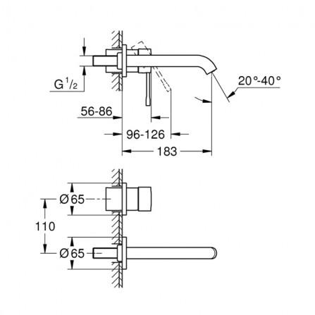 Grohe Essence Смеситель для раковины на 2 отверстия M-Size, СМ 19408 001