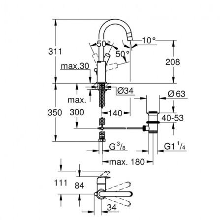 Grohe Eurosmart Смеситель для раковины L-Size 23537 002