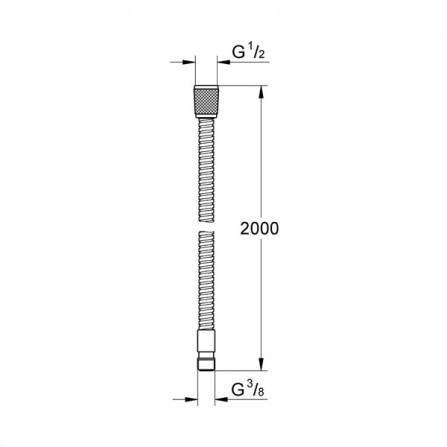 Grohe Шланг 2 м металл для бортика ванны 28158 000