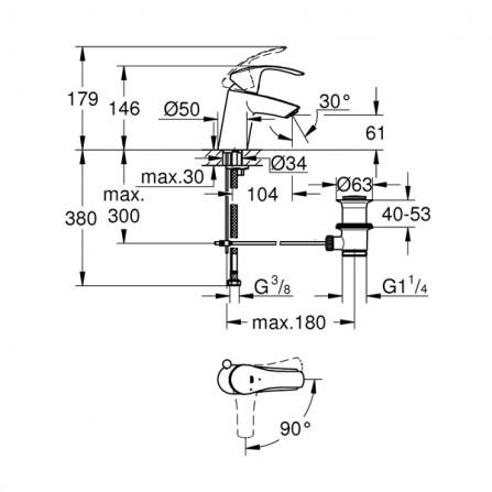Grohe Eurosmart Смеситель для раковины S-Size 32926 002