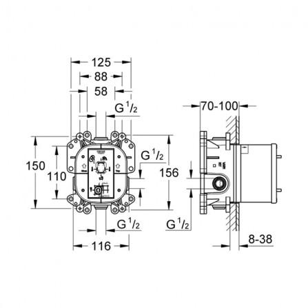 Grohe Rapido Е Механизм смесителя 35501 000*