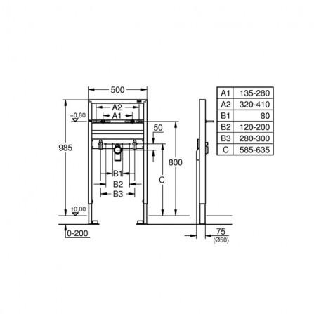 Grohe Rapid SL Инсталляция для раковины 1 м 38541 000