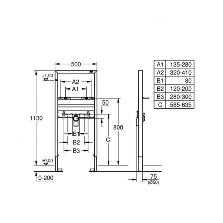 Grohe Rapid SL Инсталляция для раковины 38554 001