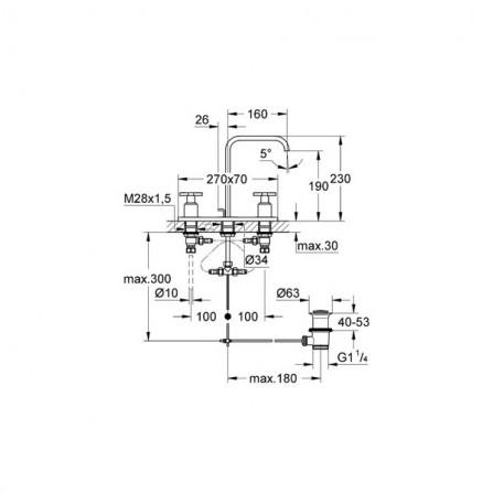 Grohe Allure Смеситель для раковины на 3 отверстия M-Size 20143 000