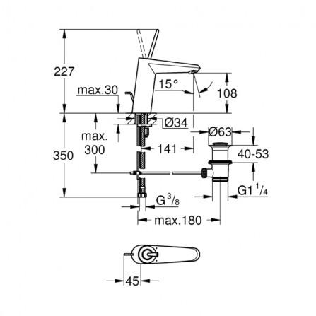 Grohe Eurodisc Joy Смеситель для раковины M-Size 23427 LS0