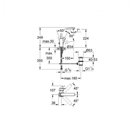 Grohe Eurocube Смеситель для раковины L-Size 23135 000