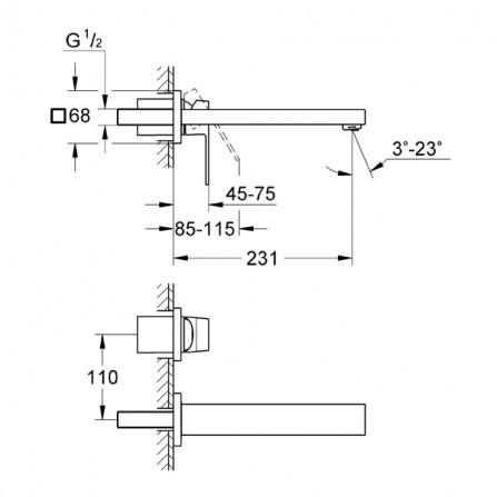 Grohe Eurocube Смеситель для раковины на 2 отверстия M-Size 23447 000